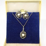 Vintage Angus and Coote Marcasite and Cultured Pearl Pendant and Earrings Set