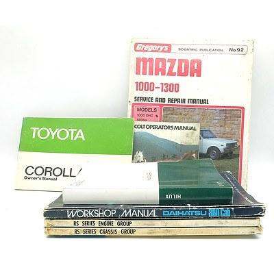 Group of Japanese Make Car Owner and Repair Manuals Including 'Daihatsu 360 Cab Workshop Manual', 'Toyota Crown Repair Manual', 'Mazda 1000-1300 Service and Repair Manual' and More