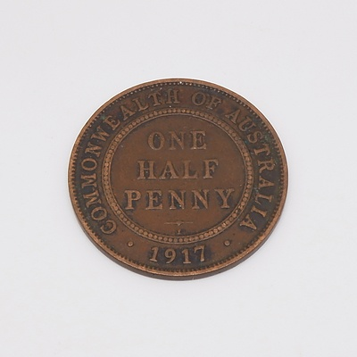 1917 Australian One Half Penny - Calcutta Mint