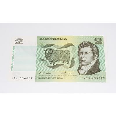 1976 Australian OCR-B Side Thread Two Dollar Banknote - Uncirculated