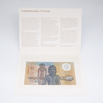 1988 Australian Ten Dollar Polymer Banknote with Original Presentation Folder