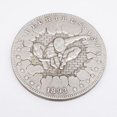 US Morgan Dollar Hobo Spiderman Carved Fantasy Coin