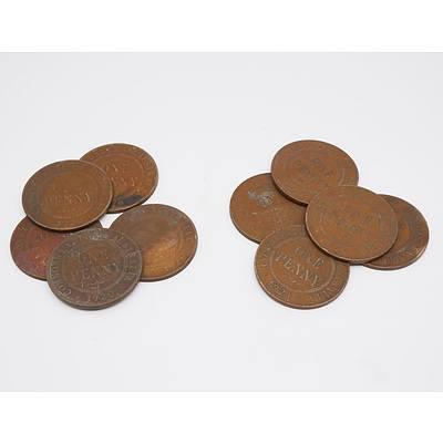 Group of 10 Australian Pennies 1920-1921