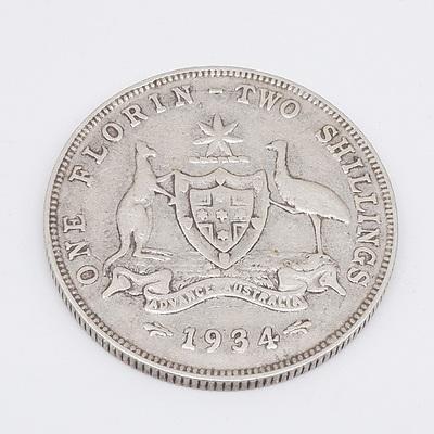 1934 Australian One Florin Two Shillings .925 Silver
