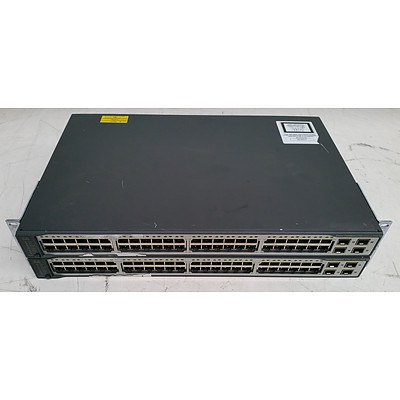 Cisco Catalyst (WS-C3750V2-48PS-S V08) 3750 v2 Series PoE-48 48-Port Fast Ethernet Switches - Lot of Two