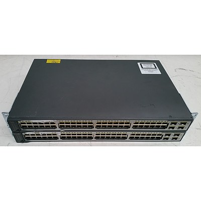 Cisco Catalyst (WS-C3750V2-48PS-S V09) 3750 v2 Series PoE-48 48-Port Fast Ethernet Switches - Lot of Two