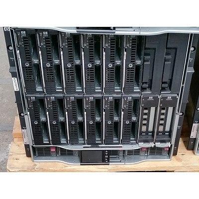 HP BladeSystem c7000 Enclosure w/ 12 x HP ProLiant Blade Servers