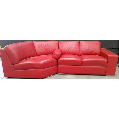 Red Leather Three Seater Modular Lounge