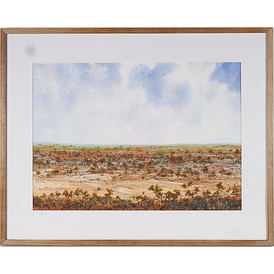 A.D. David Hatton (1938-2017) Bungendore to Lake George, Watercolour
