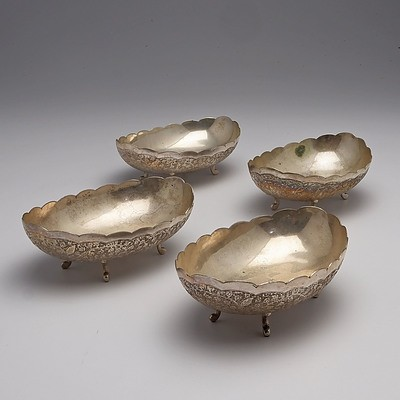 Four Persian Engraved Silver Bowls 295g