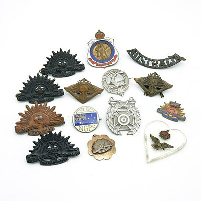 Group of Australian and International Badges, Including Two Returned From Active Service Badges 1942