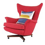 Fine Quality Newly Upholstered 1960's Wingback Armchair with Swivel Base