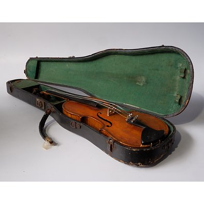 AE Smith Sydney Violin Case Together with an Old German Trade Violin Labelled Paolo Maggini