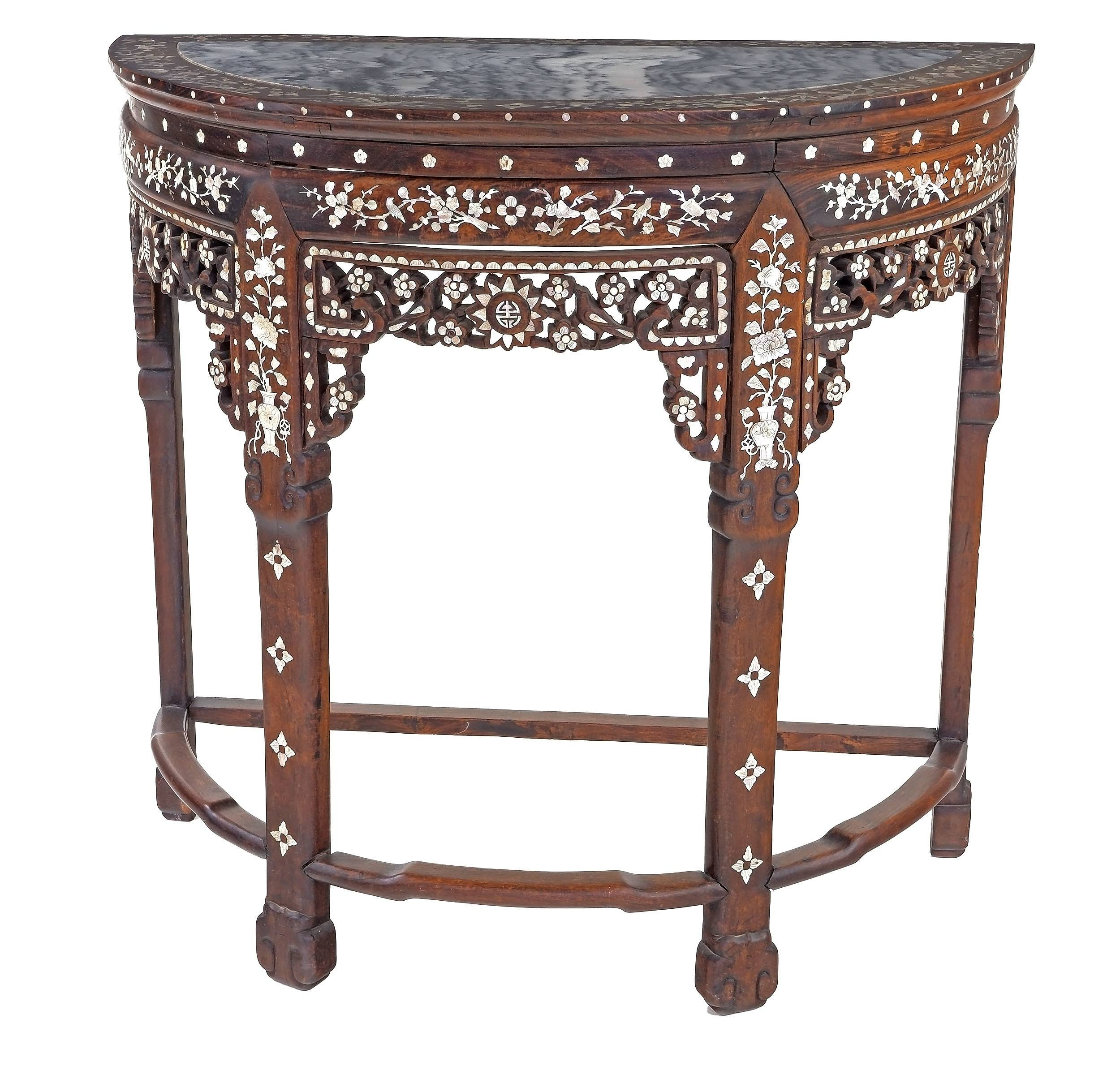 'Chinese Hongmu Rosewood Pearl Shell Inlaid and Marble Top Demi Lune Console Table, Late 19th/Early 20th Century'
