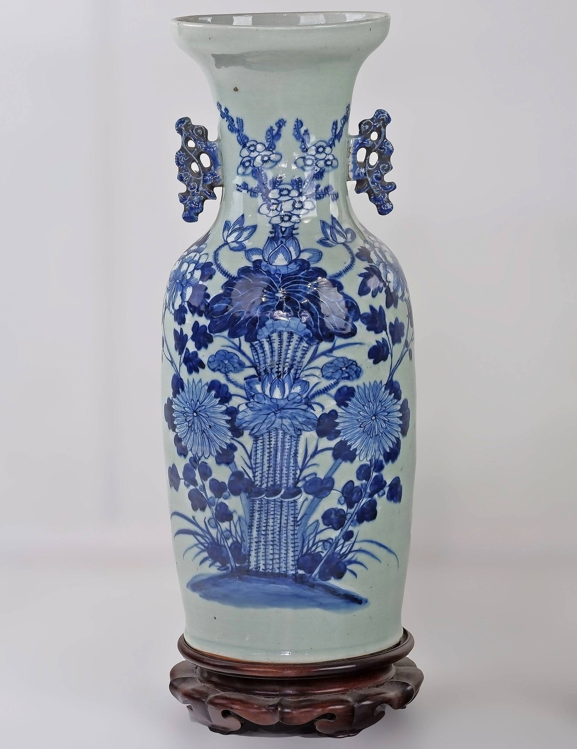 'Large Chinese Celadon Ground and Underglaze Blue and White Vase Decorated with a Flower Bunch, Late 19th/Early 20th Century'