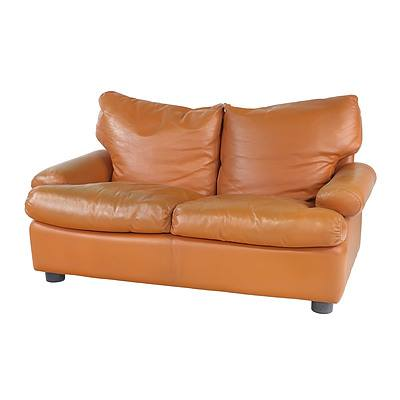 Pair of Italian 1970s Tan Leather 'Simona' Two Seater Lounges Designed by Francesco Buzzi Ceriani for Ferruccio Brunati, Meda