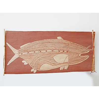 Paddy Djakala (1952-) Barramundi 1980, Ochre on Bark