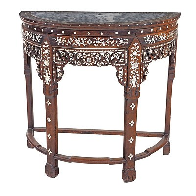 Chinese Hongmu Rosewood Pearl Shell Inlaid and Marble Top Demi Lune Console Table, Late 19th/Early 20th Century