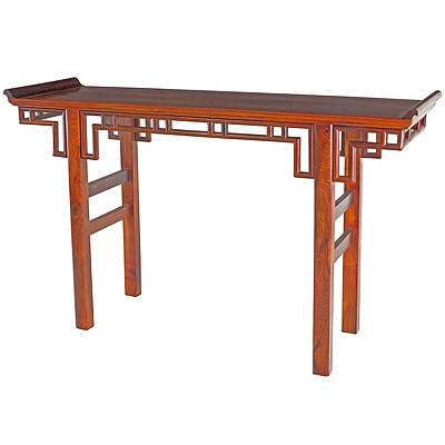 Chinese Huanghuali Type Rosewood Altar Table with Exceptional Grain Figure, Mid to Late 20th Century