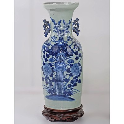 Large Chinese Celadon Ground and Underglaze Blue and White Vase Decorated with a Flower Bunch, Late 19th/Early 20th Century