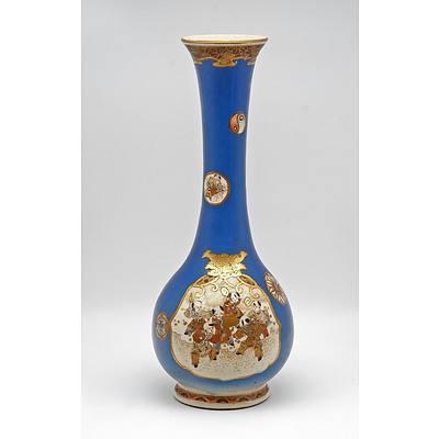 Tall Japanese Satsuma Vase with Blue Ground, Meiji Period 1868-1912