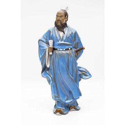 Chinese Shiwan Pottery Figure of a Warrior, Late 20th Century