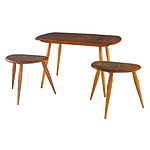 Suite of Three Ercol Solid Elm Top Side Tables