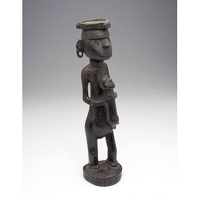 Massim People, Carved Ebony Maternity Figure, Trobriand Islands PNG Early to Mid 20th Century