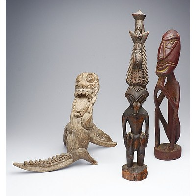 Three Various Tribal Carved Wood Figures PNG Bali