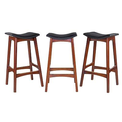 Set of Three Johannes Anderson Style Black Leather Upholstered Bar Stools