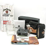 Jim Beam American Stillhouse Glass Bourbon Decanter, 'The Whisky Trail' Silicone Ice Cube Moulds, Jim Beam Novelty Apron and Oven Mitt