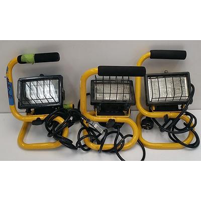 150 Watt Portable Halogen Worklights - Lot of Three