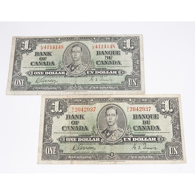 Two 1937 Bank of Canada One Dollar Banknotes