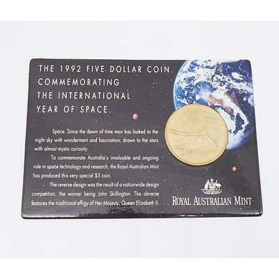 1992 Five Dollar Coin Commemorating the International Year of Space