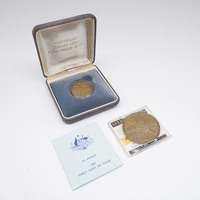 1988 Australia Five Dollar Coin Opening Parliament and 1984 First Year of Issue One Dollar Proof Coin