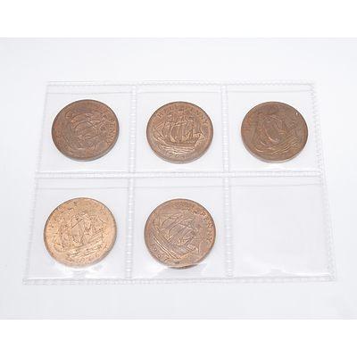 Five United Kingdom Half Pennies 1963 - 1967