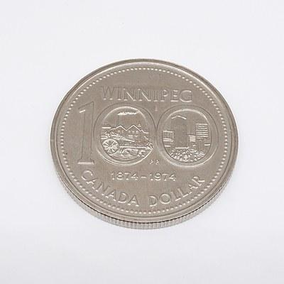 1874-1974 Canada Centenary Winnipeg  Coin