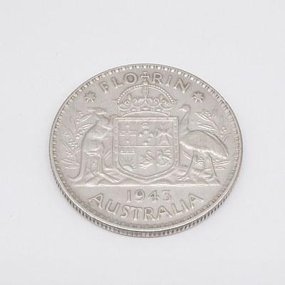 1943 Australian Florin 925 Silver