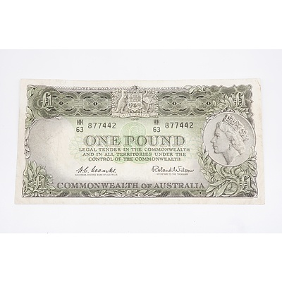 Australian One Pound Banknote Coombs/Wilson