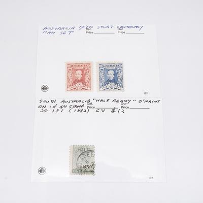 1930 Sturt Explorer Centenary Set and 1882 South Australia Half Penny Overprint on 1D Queen Victoria Stamp SG 181