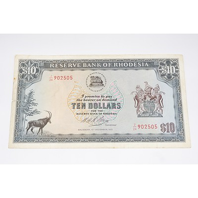 1973 Bank of Rhodesia Ten Dollar Banknote