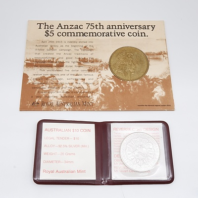 1990 Anzac 75th Anniversary Five Dollar Commemorative Coin and 1982 XII Commonwealth Games Brisbane Ten Dollar Coin