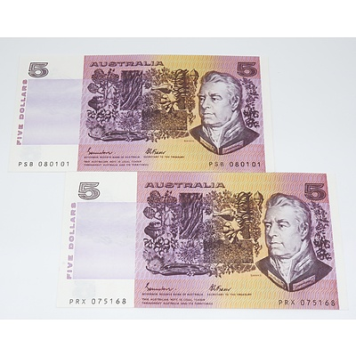 Two 1985 Australian Five Dollar Banknotes
