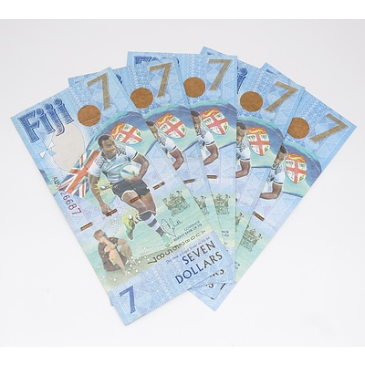 Five Fiji Seven Dollar Banknotes - Fiji Rugby 7's Gold Olympians