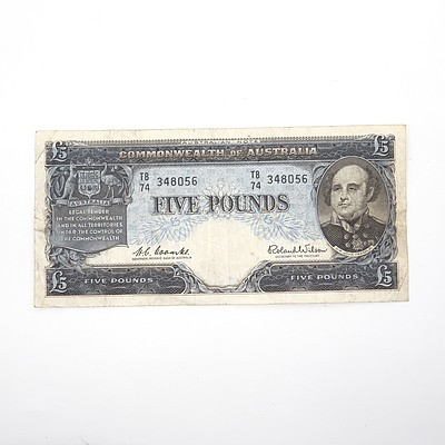 Commonwealth of Australia Coombs/ Wilson Five Pound Note, TB74 348056