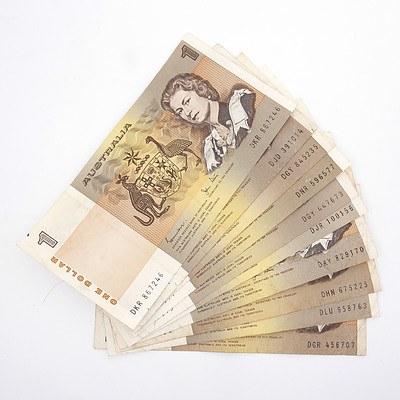 Ten Australian Johnson/ Stone $1 Paper Notes