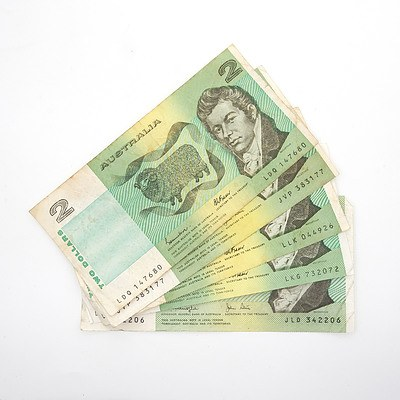 Five Australia $2 Paper Notes, Knight/Stone and Johnson/ Fraser