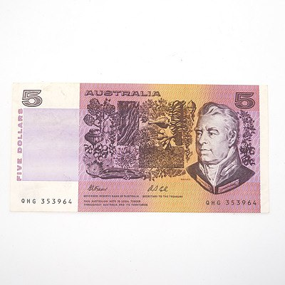 Australian Fraser/ Cole $5 Paper Note, QHG353964