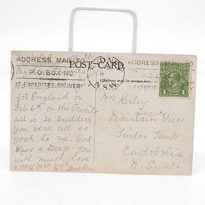 King George V One Penny Post Stamp on Grand Hotel Capetown Postcard
