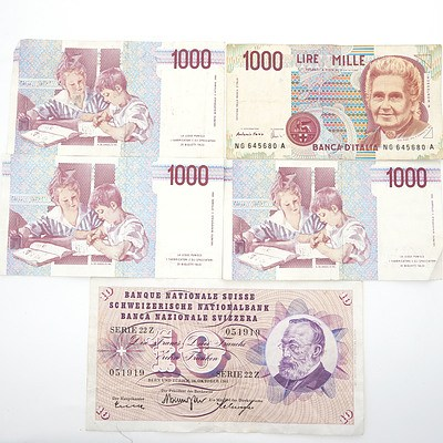 Four 1990 Italian 1000 Lire Notes and Swiss 10 Franc Note
